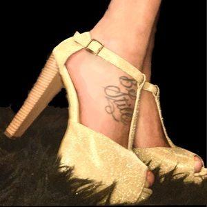 Comfortable Gold & Glittery Platform Heels
